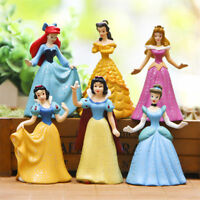 "6pcs/set Disney Princess Figures 2.9"" Lovely Collectible Toy Gift Cake Topper"