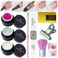 8Pcs/Set BORN PRETTY White Clear Pink Nail Extend Building UV Gel Polish Brushes