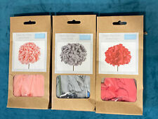 3 x Trimits Make Your Own Jersey Flower Kits In Peach, Grey & Coral