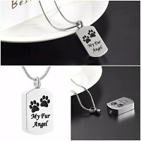 Dog Cat Ashes Paws Necklace - Memorial Keepsake Stainless Steel Urn Jewellery