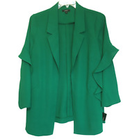 Alfani Plus Size Flounce Sleeve Ruffled Green Blazer Jacket MSRP:$109 3X