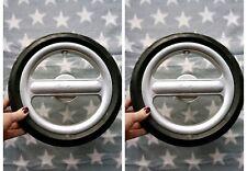 2 x Silver Cross Surf Pram Rear Back Wheels in Chrome Used Set Pair