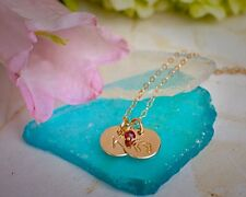 Baby Feet Custom Initial Necklace with Birthstone New Mom Gift 14k Gold Filled