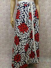 Vintage 60s Mod Maxi Skirt Womens S XS Wrap Style White Blue Red Print 25 Waist