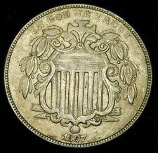 1867 Rays Shield Nickel - XF !!