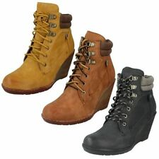 Lace Up Synthetic Wedge Ankle Women's Boots