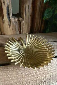 Gold Metal Fan Palm Leaf Dish