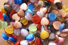 30x Mix Glass Heart Cat Eye Beads Flat Back 14mm  x 14mm COLORS MAY VARY TSC73