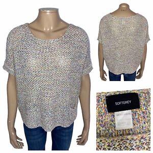 SOFTGREY Multicoloured Oversized Short Sleeve Loose Knit Jumper Size 10 UK