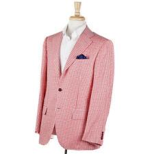 NWT $8495 KITON Gingham Check Cashmere-Linen-Silk-Vicuna Sport Coat 40 R (Eu 50)