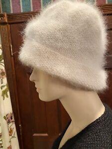 Renost Angora Beret Frauen Winter Strick M/ütze Warm Flower Strass Double Layers Hut