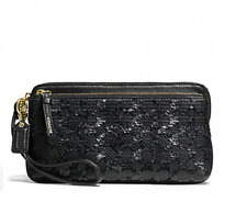 NWT COACH F50275 POPPY SEQUIN SIGNATURE C DOUBLE ZIP WALLET