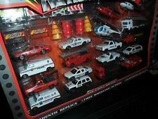 HTF ROAD TOUGH ACTION PLAYSET DIECAST METAL 18 CAR SET POLICE FIRE TRUCK & SIGNS