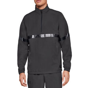 Under Armour UA Sportstyle Woven Grey Mens Running Warm Up Top 1/2 Zip Jacket L