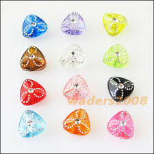 100 New Charms Mixed Acrylic Plastic Tiny Heart Spacer Beads 9mm