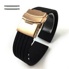 Black Rubber Silicone Watch Band Strap Rose Gold Double Locking Clasp #4011RG