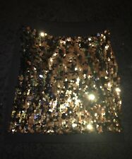 Lou Lou Miss Selfridges Size: S(6-8) Sparkly Sequin Black Gold Party Club Skirt