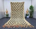 """Moroccan Handmade Vintage Rug 4'8""""x10'8"""" Berber Geometric Beige Black Wool Rug"""