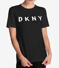 DKNY Women Black Cotton Embroidered Logo T-Shirt Size M NWT MSRP 39$+TAX