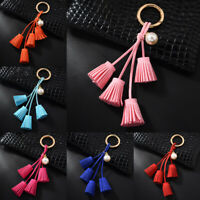 Women Key Chain Metal Tassel Leather Bag Pendant Car Ornaments Charm Keyring NEW