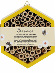 Wooden solitary bee house hive ecosystem bug hotel pollen flower present gift