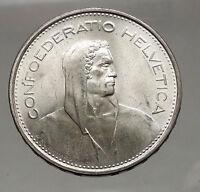 1966 Switzerland Founding HERO WILLIAM TELL 5 Francs European Silver Coin i56747