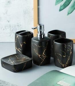 Modern 5pcs Bathroom Accessory Set Soap Dish Dispenser Toothbrush Holder Ceramic