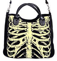 Glow In The Dark Skeleton Ribcage Gothic Shoulder Bag Handbag Horror Emo Black