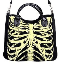 Glow In The Dark Skeleton Ribcage Gothic Shoulder Bag Handbag Horror Emo Black