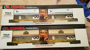 LIONEL 2 TTUX FLAT CAR WITH TRAILER SETS - CNW & SOUTHERN PACIFIC - O GAUGE