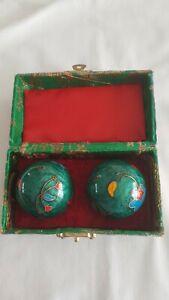 Qi Gong Kugeln Blüten GRÜN Klangkugeln Massage Meditation 4 cm Durchmesser
