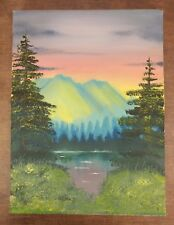 Bob Ross style original Oil Landscape Painting Mountains Pines  on 12x16 canvas