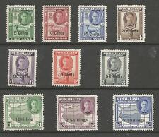 SOMALILAND PROTECTORATE SG125-34  1951 GVI  0/PRINT SET TO 2/- ON 3rs MNH C.£38+