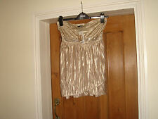george gold strappy party top size 10 bnwt crinkle gold beaded stretch