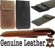 FLAP RIC WAIST POUCH WITH BELT LOOP GENUINE LEATHER CASE FOR MOTOROLA PHONES
