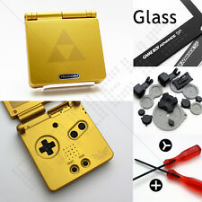 NUOVO GOLD ZELDA NINTENDO GAME BOY ADVANCE SP CASE / Shell / HOUSING & Schermo in Vetro