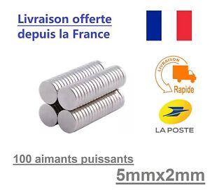 100 Aimants Neodyme Rond Puissant pour frigo, tableau magnétique - 5mm x 2mm
