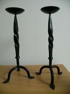 A Pair of Wrought Iron Candle Stick Holders - 11inch