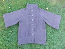 Warehouse Jumper Wool Blend Size 12 Chunky Knit Wide 3/4 Sleeve Button-Front