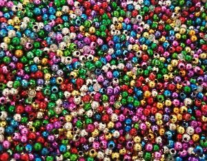 2,000 pcs Assorted Metallic Artificial Plastic Pearls 4mm Tiny Round Craft Beads