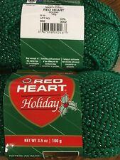 NEW Red Heart Holiday Christmas yarn green/silver acrylic 3.5oz. skein metallic