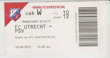 Sammler Used Ticket / Entrada FC Utrecht v PSV Eindhoven 16-09-2012