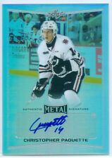 """CHRISTOPHER PAQUETTE """"AUTOGRAPH CARD"""" LEAF METAL DRAFT HOCKEY 2016 ICE DOGS"""