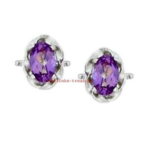 Natural Amethyst Gemstone With 925 Sterling Silver Cufflinks For Men's
