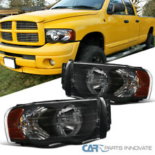 For Dodge 02-05 Ram 1500/2500/3500 Pickup Black Headlights Head Lamps Left+Right
