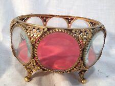 Vtg Ornate Gilt Filigree 8 sided Ormolu Stylebuilt Glass Casket Jewelry Box