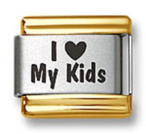 Italian Charm Bracelet Links Laser I Heart My Kids Gold Trim Stainless Steel