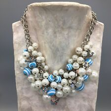 Betsey Johnson ANCHORS AWAY Faux Pearls STATEMENT NECKLACE Authentic Genuine NEW