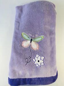 Tiddliwinks Purple Butterfly Baby Blanket Green White Blue Pink Flower Plush