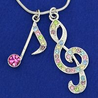 W Swarovski Crystal Treble Clef Note Song Music Multi Color Pendant Necklace